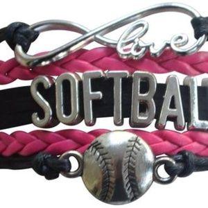 Girls Softball Bracelet - Pink & Black
